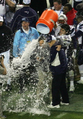 JACKSONVILLE, FL - FEBRUARY 6:   Linebacker Tedy Bruschi #54 of the New England Patriots pours the Gatorade tub over head coach Bill Belichick before defeating the Philadelphia Eagles in Super Bowl XXXIX at Alltel Stadium on February 6, 2005 in Jacksonvil