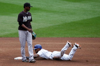 NEW YORK - SEPTEMBER 27:  Jose Reyes #7 of the New York Mets steals second base without a throw to Hanley Ramirez #2 of the Florida Marlins in the first inning on September 27, 2008 at Shea Stadium in the Flushing neighborhood of the Queens borough of New