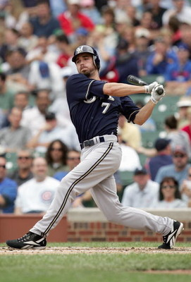 CHICAGO - JUNE 29: J.J. Hardy #7 of the Milwaukee Brewers swings at the pitch during the game against the Chicago Cubs on June 29, 2007 at Wrigley Field in Chicago, Illinois. (Photo by: Jonathan Daniel/Getty Images)