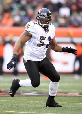 CINCINNATI - NOVEMBER 30:  Ray Lewis #52 of the Baltimore Ravens looks to make a defensive play during their NFL game against the Cincinnati Bengals on November 30, 2008 at Paul Brown Stadium in Cincinnati, Ohio. The Ravens defeated the Bengals 34-3.(Phot