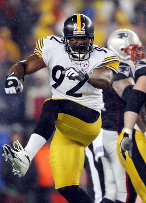 FOXBORO, MA - NOVEMBER 30:  James Harrison #92 of the Pittsburgh Steelers celebrates after the Steelers recovered a fumble by the New England Patriots on November 30, 2008 at Gillette Stadium in Foxboro, Massachusetts.  (Photo by Elsa/Getty Images)