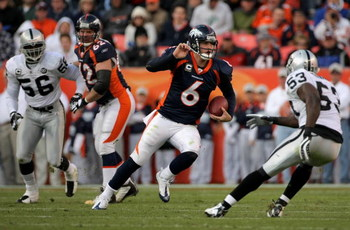 DENVER - NOVEMBER 23:  Quarterback Jay Cutler #6 of the Denver Broncos scrambles against the Oakland Raiders during week 12 NFL action at Invesco Field at Mile High on November 23, 2008 in Denver, Colorado. The Raiders defeated the Broncos 31-10.  (Photo