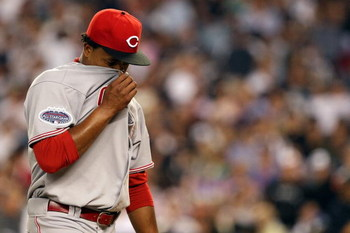 NEW YORK - JULY 15:  National League All-Star Edinson Volquez #36 of the Cincinnati Reds reacts after giving up a two-run-home run in the eighth inning during the 79th MLB All-Star Game at Yankee Stadium on July 15, 2008 in the Bronx borough of New York C