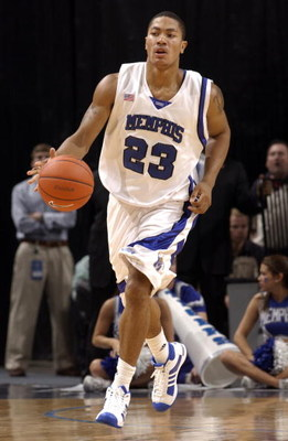MEMPHIS, TN - MARCH 15: Derrick Rose #23 of the Memphis Tigers brings the ball upcourt against the Tulsa Golden Hurricane during the finals of the Conference USA Basketball Tournament at FedExForum on March 15, 2008 in Memphis, Tennessee. Memphis beat Tul