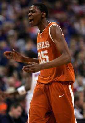 OKLAHOMA CITY - MARCH 11:  Guard Kevin Durant #35 of the Texas Longhorns reacts during their game against the Kansas Jayhawks in the finals of the Phillips 66 Big 12 Men's Basketball Championship on March 11, 2007 at the Ford Center in Oklahoma City, Okla