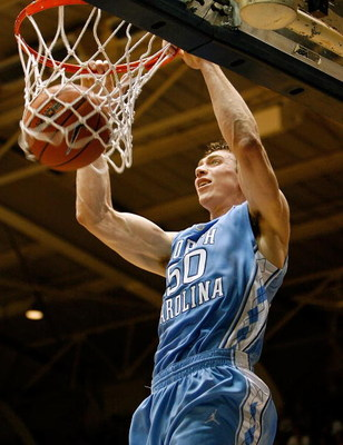 DURHAM, NC - FEBRUARY 11:  Tyler Hansbrough #50 of the North Carolina Tar Heels goes up for a second-half dunk against the Duke Blue Devils during the game on February 11, 2009 at Cameron Indoor Stadium in Durham, North Carolina.  (Photo by Kevin Cox/Gett