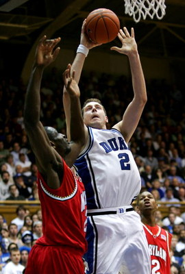 DURHAM, NC - FEBRUARY 28:  Josh McRoberts #2 of the Duke Blue Devils shoots the ball during their game against the Maryland Terrapins at Cameron Indoor Stadium on February 28, 2007 in Durham, North Carolina.  (Photo by Streeter Lecka/Getty Images)