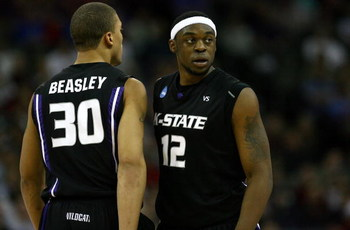 OMAHA, NE - MARCH 20:  Bill Walker #13 (R) and Michael Beasley #30 of the Kansas State Wildcats stand on court against the USC Trojans during the Midwest Region first round of the 2008 NCAA Men's Basketball Tournament on March 20, 2008 at the Qwest Center