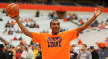 SYRACUSE, NY - FEBRUARY 16:  Syracuse Forward Donte Green #5 pumps up the crowd during pre-game warmups during the game between the Georgetown University Hoyas and the Syracuse University Orange at the Carrier Dome February 16, 2008 in Syracuse, New York.
