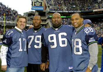 Seattle Seahawks old timers Dave Krieg (17), Jacob Green (79), Cortez Kennedy (96)  and Curt Warner  (28) before the NFC Championship game January 22, 2006 in Seattle.  (Photo by Al Messerschmidt/Getty Images)