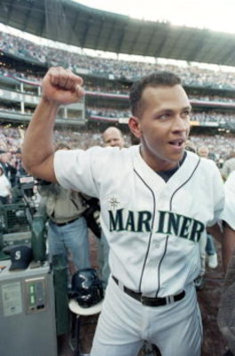 6 Oct 2000:  Alex Rodriguez #3 of the Seattle Mariners celebrates after winning Game Three of the American Leage Division Series against the Chicago White Sox at Safco Field in Seattle, Washington. The Mariners defeated the White Sox 2-1.Mandatory Credit: