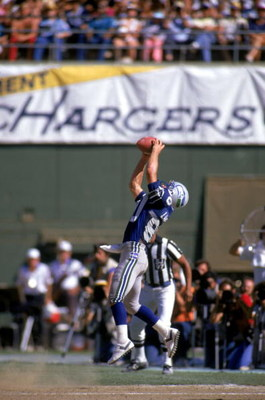SAN DIEGO, CA - 1987:  Wide receiver Steve Largent #80 of the Seattle Seahawks catches a pass during a game against the San Diego Chargers at Jack Murphy Stadium during the 1987 NFL season in San Diego, California.  (Photo by Rick Stewart/Getty Images)
