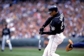 5 Sep 1999: Ken Griffey Jr. #24 of the Seattle Mariners swings at the ball during a game against the Boston Red Sox  at the Safeco Field in Seattle, Washington. The Red Sox defeated the Mariners 9-7. Mandatory Credit: Otto Greule Jr.  /Allsport