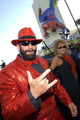 404521 18: Pro-wrestelr Randy 'Macho Man' Savage arrives at the premiere of the film 'Spider-Man' April 29, 2002 in Los Angeles, CA. (Photo by Vince Bucci/Getty Images)