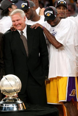LOS ANGELES, CA - MAY 29:  Los Angeles Lakers legend Jerry West and Kobe Bryant #24 of the Los Angeles Lakers celebrate after the Lakers defeated the San Antonio Spurs in Game Five of the Western Conference Finals during the 2008 NBA Playoffs on May 29, 2