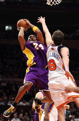 NEW YORK - FEBRUARY 02:  Kobe Bryant #24 of the Los Angeles Lakers shoots the ball over Danilo Gallinari #8 of the New York Knicks on February 2, 2009 at Madison Square Garden in New York City. NOTE TO USER: User expressly acknowledges and agrees that, by