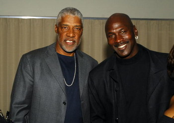 LOUISVILLE, KY - MAY 04: NBA basketball legends Julius 'Dr. J' Erving (L) and Michael Jordan pose at the Muhammad Ali birthday celebration and VIP Reception during the events for the 133rd Kentucky Derby, May 4, 2007 in Louisville, Kentucky. (Photo by Jef