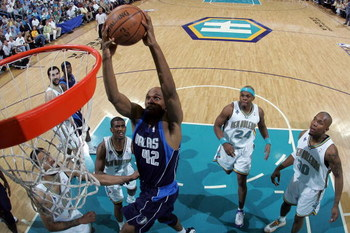 NEW ORLEANS - APRIL 29:  Jerry Stackhouse #42 of the Dallas Mavericks dunks the ball over Tyson Chandler #6 of the New Orleans Hornets in Game Five of the Western Conference Quarterfinals during the 2008 NBA Playoffs at The New Orleans Arena April 29, 200