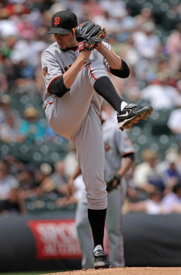 DENVER - MAY 21:  Starting pitcher Jonathan Sanchez #53 of the San Francisco Giants delivers against the Colorado Rockies at Coors Field on May 21, 2008 in Denver, Colorado.  (Photo by Doug Pensinger/Getty Images)