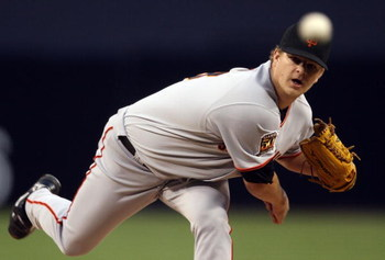 SAN DIEGO - APRIL 23:  Starting pitcher Matt Cain #18 of the San Francisco Giants throws against the San Diego Padres April 23, 2008 at Petco Park in San Diego, California.  (Photo by Donald Miralle/Getty Images)