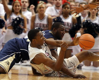 HARTFORD, CT - FEBRUARY 16:  Hasheem Thabeet #34 of the Connecticut Huskies and DeJuan Blair #45  of the Pittsburgh Panthers fight for the loose ball on February 16, 2009 at XL Center  in Hartford, Connecticut.  (Photo by Elsa/Getty Images)