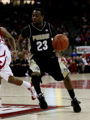 MADISON, WI - JANUARY 27: Lewis Jackson #23 of the Purdue Boilermakers drives to the basket against the Wisconsin Badgers on January 27, 2009 at the Kohl Center in Madison, Wisconsin. Purdue defeated Wisconsin 64-63. (Photo by Jonathan Daniel/Getty Images