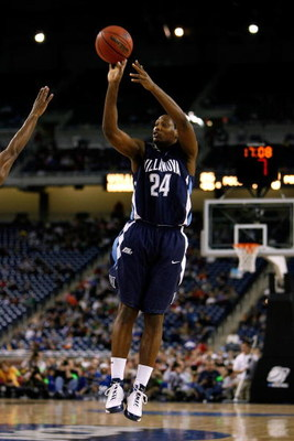 DETROIT - MARCH 28:  Corey Stokes #24 of the Villanova Wildcats attempts a shot against the Kansas Jayhawks during the Midwest Regional Semifinal of the 2008 NCAA Division I Men's Basketball Tournament at Ford Field on March 28, 2008 in Detroit, Michigan.