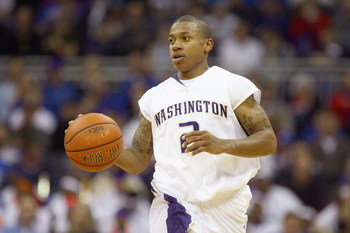 KANSAS CITY, MO - NOVEMBER 25:  Isaiah Thomas #2 of the Washington Huskies dribbles downcourt against the Florida Gators during the CBE Classic consolation game on November 25, 2008 at the Sprint Center in Kansas City, Missouri. (Photo by: Jamie Squire/Ge