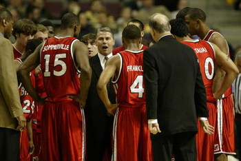 AUBURN HILLS, MI - MARCH 19: Head coach Jim Les of the Bradley Braves instructs his team during a break in the Second Round of the 2006 NCAA Men's Basketball Tournament against the Pittsburgh Panthers at The Palace of Auburn Hills on March 19, 2006 in Aub