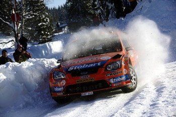 HAMAR, NORWAY - FEBRUARY 14:  Henning Solberg and Cato Menkerud of Stobart VK M-Sport Ford Rally Team, Ford Focus RS in action during Leg 2 of Rally Norway 2009 on February 14, 2009 in Hamar, Norway.  (Photo by Reporter Images/Getty Images)