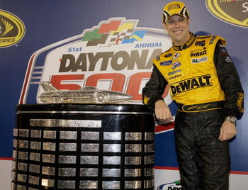 DAYTONA BEACH, FL - FEBRUARY 15:  Matt Kenseth, driver of the #17 DEWALT Ford, celebrates in victory lane after winning the NASCAR Sprint Cup Series Daytona 500 at Daytona International Speedway on February 15, 2009 in Daytona Beach, Florida.  (Photo by J
