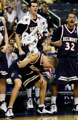WASHINGTON - MARCH 20:  Keaton Belcher #3, Will Peeples #33 and Jordan Campbell #32 of the Belmont Bruins react to a play from the bench against the Duke Blue Devils during the first round of the West Regional as part of the 2008 NCAA Men's Basketball Tou