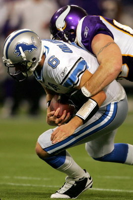 MINNEAPOLIS - OCTOBER 12:  Quarterback Dan Orlovsky #6 of the Detroit Lions is sacked by Jared Allen #69 of the Minnesota Vikings at the HHH Metrodome October 12, 2008 in Minneapolis, Minnesota.  (Photo by Matthew Stockman/Getty Images)