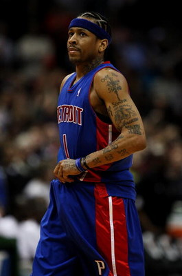 MILWAUKEE - FEBRUARY 07: Allen Iverson #1 of the Detroit Pistons walks back to the bench during a game against the Milwaukee Bucks on February 7, 2009 at the Bradley Center in Milwaukee, Wisconsin. The Pistons defeated the Bucks 126-121 in overtime. NOTE