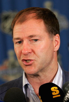OTTAWA, ON - JUNE 04:  General Manager, Kevin Lowe of the Edmonton Oilers speaks to the media during the NHL general managers meeting on June 4, 2007 at the Brookstreet Hotel in Ottawa, Canada.  (Photo by Bruce Bennett/Getty Images)