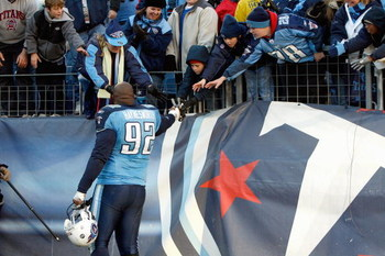 NASHVILLE, TN - DECEMBER 7:   Albert Haynesworth #92 of the Tennessee Titans greets fans after the game against the Cleveland Browns on December 7, 2008 at LP Field in Nashville, Tennessee.  (Photo by Kevin C. Cox/Getty Images)