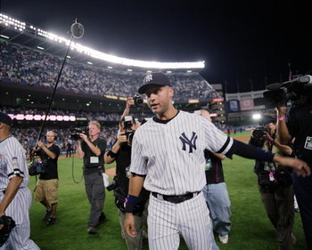 NEW YORK - SEPTEMBER 21: Derek Jeter #2 of the New York Yankees leaves the field after the final game at Yankee Stadium on September 21, 2008 in the Bronx borough of New York City. The Yankees are playing their final season in the 85 year old ball park an