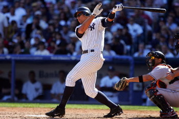 NEW YORK - SEPTEMBER 20: Alex Rodriguez #13 of the New York Yankees hits a fourth inning single against the Baltimore Orioles on September 20, 2008 at Yankee Stadium in the Bronx borough of New York City. The Yankees defeated the Orioles 1-0.  (Photo by J