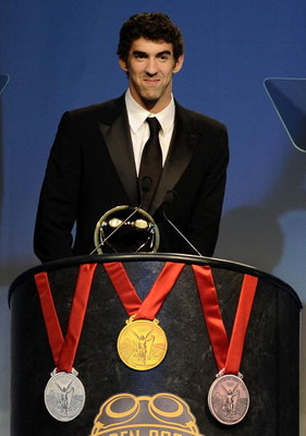 NEW YORK - NOVEMBER 17:  Michael Phelps accepts the Golden Goggles Award for male athlete of the year at the fifth annual USA Swimming Foundation Golden Goggles Awards on November 17, 2008 in New York City.  (Photo by Jeff Zelevansky/Getty Images for USA