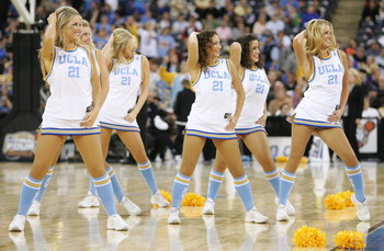 INDIANAPOLIS - APRIL 01:  The UCLA Bruins cheerleaders perform as they take on the LSU Tigers during the semifinal game of the NCAA Men's Final Four on April 1, 2006 at the RCA Dome in Indianapolis, Indiana.  (Photo by Andy Lyons/Getty Images)
