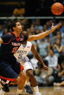 CHAPEL HILL, NC - FEBRUARY 07:  Sylven Landesberg #15 of the Virginia Cavaliers reaches for the ball during the game against the North Carolina Tar Heels on February 7, 2009 at the Dean E. Smith Center in Chapel Hill, North Carolina.  (Photo by Kevin C. C