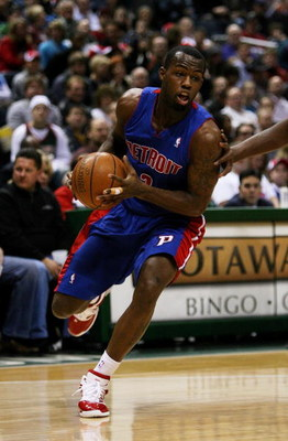 MILWAUKEE - FEBRUARY 07: Rodney Stuckey #3 of the Detroit Pistons moves against the Milwaukee Bucks on February 7, 2009 at the Bradley Center in Milwaukee, Wisconsin. The Pistons defeated the Bucks 126-121 in overtime. NOTE TO USER: User expressly acknowl