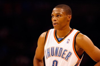OKLAHOMA CITY - OCTOBER 29:  Russell Westbrook #0 of the Oklahoma City Thunder looks across the court during the game against the Milwaukee Bucks at the Ford Center on October 29, 2008 in Oklahoma City, Oklahoma. The Bucks won 98-87.  NOTE TO USER: User e