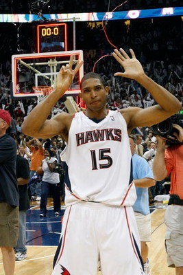 ATLANTA - MAY 02: Al Horford #15 of the Atlanta Hawks celebrates after defeating the Boston Celtics 103-100 in Game Six of the Eastern Conference Quarterfinals during the 2008 NBA Playoffs at Phillips Arena on May 2, 2008 in Atlanta Georgia.  NOTE TO USER