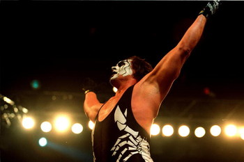 09 Oct 2000:  Sting celebrates after defeating Mike Sanders after their bout at the World Chamionship Wrestling ''Thunder Down Under'' night at the Sydney Entertainment Centre, Sydney, Australia. Mandatory Credit: Scott Barbour/ALLSPORT