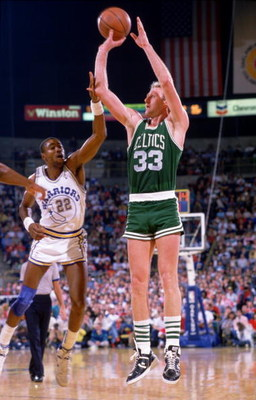 UNDATED:  BOSTON FORWARD LARRY BIRD SHOOTS A JUMP SHOT AND IS FOULED DURING THE CELTICS GAME VERSUS THE GOLDEN STATE WARRIORS AT OAKLAND COLISEUM IN OAKLAND, CALIFORNIA. Mandatory Credit: Stephen Dunn/ALLSPORT
