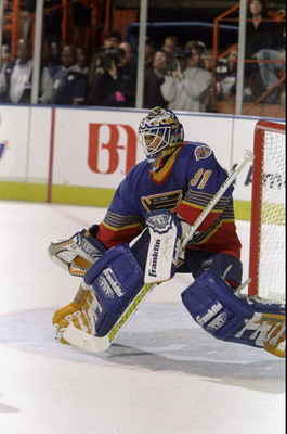 27 Apr 1998:  Goaltender Grant Fuhr of the St. Louis Blues in action during their NHL Playoff game against the Los Angeles Kings at the Great Western Forum in Inglewood, California.  The Kings defeated the Blues 4-3. Mandatory Credit: Todd Warshaw  /Allsp