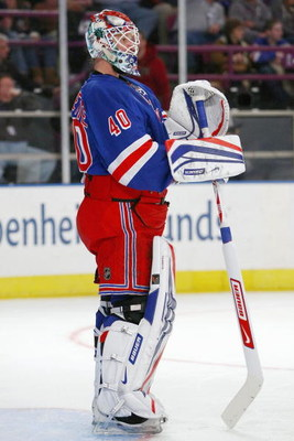 NEW YORK - FEBRUARY 15:  Goalie Stephen Valiquette #40 of the New York Rangers looks down the ice during the game against the Philadelphia Flyers on February 15, 2009 at Madison Square Garden in New York City.  (Photo by Chris McGrath/Getty Images)