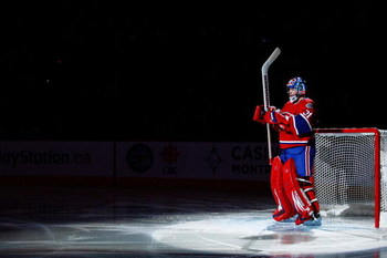 MONTREAL- JANUARY 31:  Carey Price #31 of the Montreal Canadiens is introduced during pre-game ceremonies prior to facing the Los Angeles Kings at the Bell Centre on January 31, 2009 in Montreal, Quebec, Canada.   The Canadiens defeated the Kings 4-3.  (P
