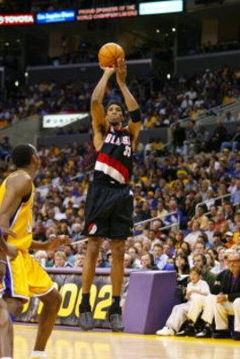 21 Apr 2002:  Scottie Pippen #33 of the Portland Trail Blazers puts a shot up over Kobe Bryant #8 of the Los Angeles Lakers during round one of the 2002 NBA Playoffs at Staples Center in Los Angeles, California.  DIGITAL IMAGE NOTE TO USER:  User expressl